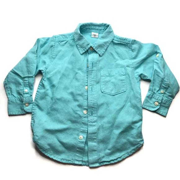 GAP Other - Gap Green Teal Linen Blend Button Up Shirt A000777